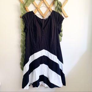 Eshataki Cap Sleeve Chevron Dress
